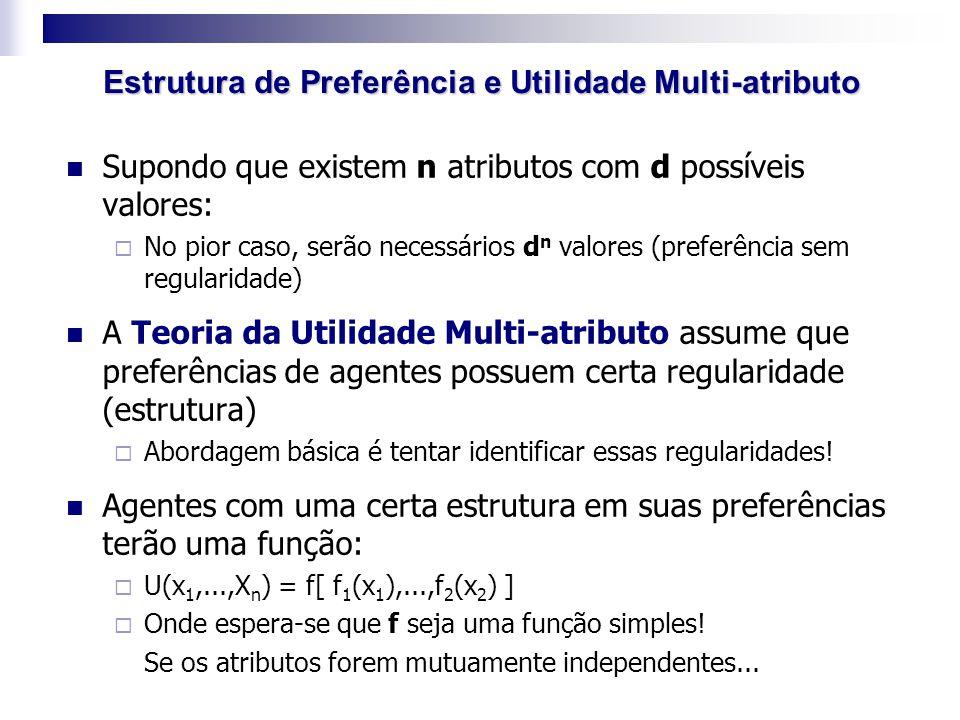Supondo que existem n atributos com d possíveis valores:  No pior caso, serão necessários d n valores (preferência sem regularidade) A Teoria da Util