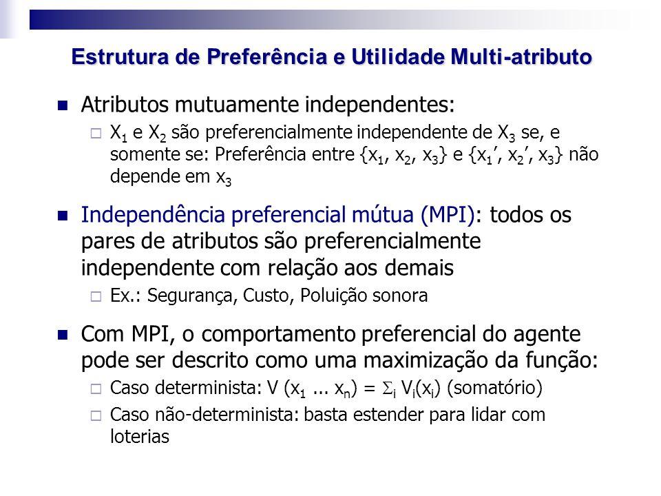 Atributos mutuamente independentes:  X 1 e X 2 são preferencialmente independente de X 3 se, e somente se: Preferência entre {x 1, x 2, x 3 } e {x 1
