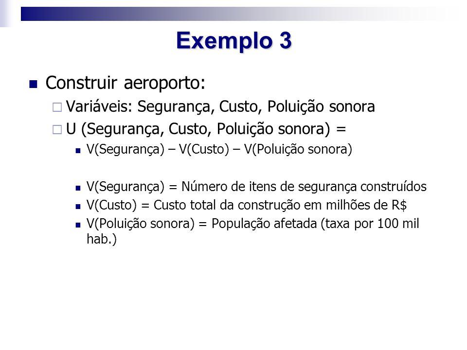 Exemplo 3 Construir aeroporto:  Variáveis: Segurança, Custo, Poluição sonora  U (Segurança, Custo, Poluição sonora) = V(Segurança) – V(Custo) – V(Po