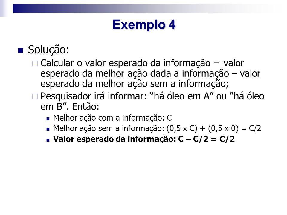 Solução:  Calcular o valor esperado da informação = valor esperado da melhor ação dada a informação – valor esperado da melhor ação sem a informação;