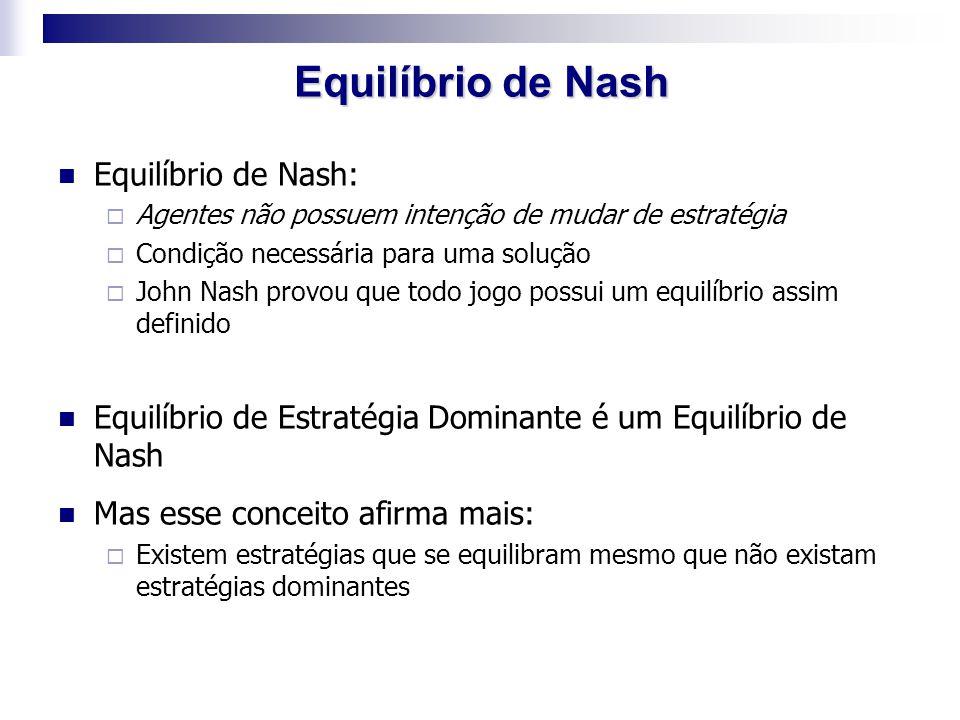 Equilíbrio de Nash:  Agentes não possuem intenção de mudar de estratégia  Condição necessária para uma solução  John Nash provou que todo jogo poss