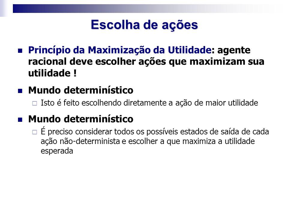 Princípio da Maximização da Utilidade: agente racional deve escolher ações que maximizam sua utilidade ! Mundo determinístico  Isto é feito escolhend