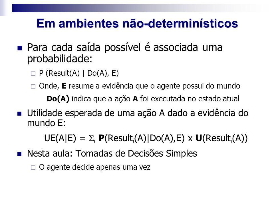 Para cada saída possível é associada uma probabilidade:  P (Result(A) | Do(A), E)  Onde, E resume a evidência que o agente possui do mundo Do(A) ind