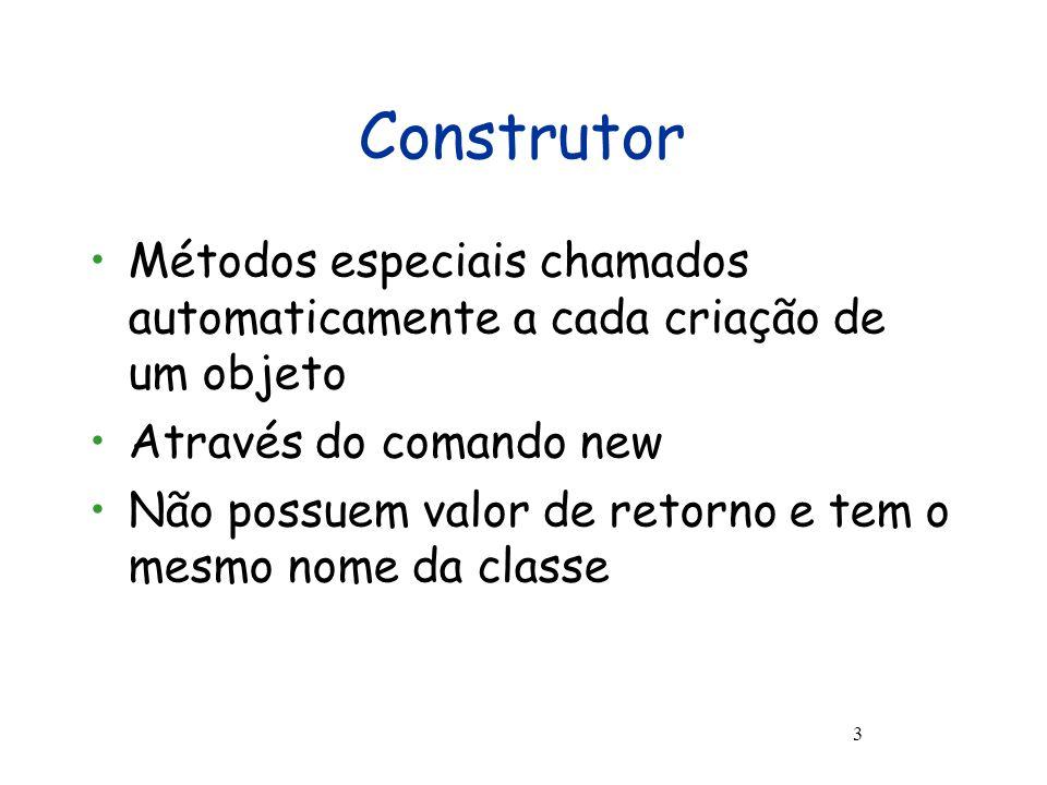 Herança Exemplo 14 classe Tv extends Eletrodomestico{ int canal = 3, int volume = 0; Tv(boolean ligado, int voltagem, int canal, int volume){ this.ligado := ligado; this.voltagem := voltagem; this.canal := canal; this.volume := volume }, proc aumentarVolume(){ this.volume := this.volume + 1 }, proc diminuirVolume(){ if(not (this.volume == 0)) then { this.volume := this.volume - 1 } },