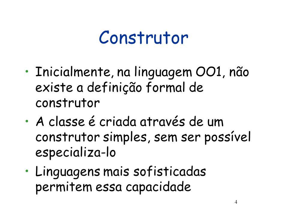 Herança Exemplo - Cont 15 proc imprimeEstadoTv(){ this.imprimeEstado(); write( Canal: ++ this.canal); write( Volume: ++ this.volume) } }; { Tv tv := new Tv(false,110,13,20); write(tv.voltagem);write( ------------------------ ); tv.imprimeEstado();write( ------------------------ ); tv.imprimeEstadoTv();write( ------------------------ ); tv.aumentarVolume(); tv.imprimeEstadoTv() }
