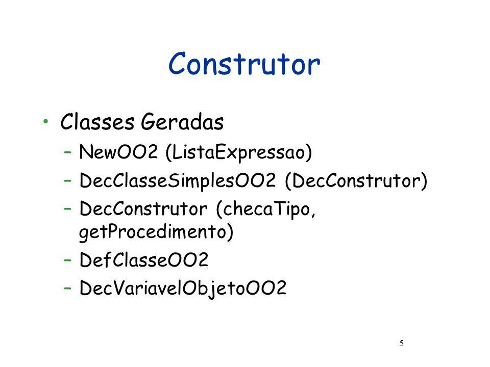 Ambiente do Interpretador O ambiente inclui SETE componentes: –uma pilha de mapeamentos de identificadores em valores –um mapeamento de referências em objetos –a próxima referência disponível –um mapeamento de identificadores em definições de classes –listas de valores de entrada e saída –Lista de mapeamento de superclasses [classe => superclasse]