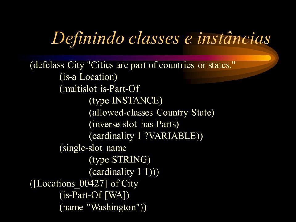 Definindo classes e instâncias (defclass City
