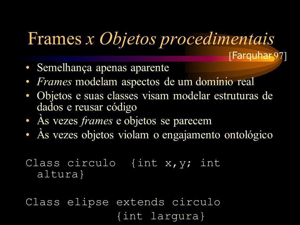 Frames x Objetos procedimentais Semelhança apenas aparente Frames modelam aspectos de um domínio real Objetos e suas classes visam modelar estruturas
