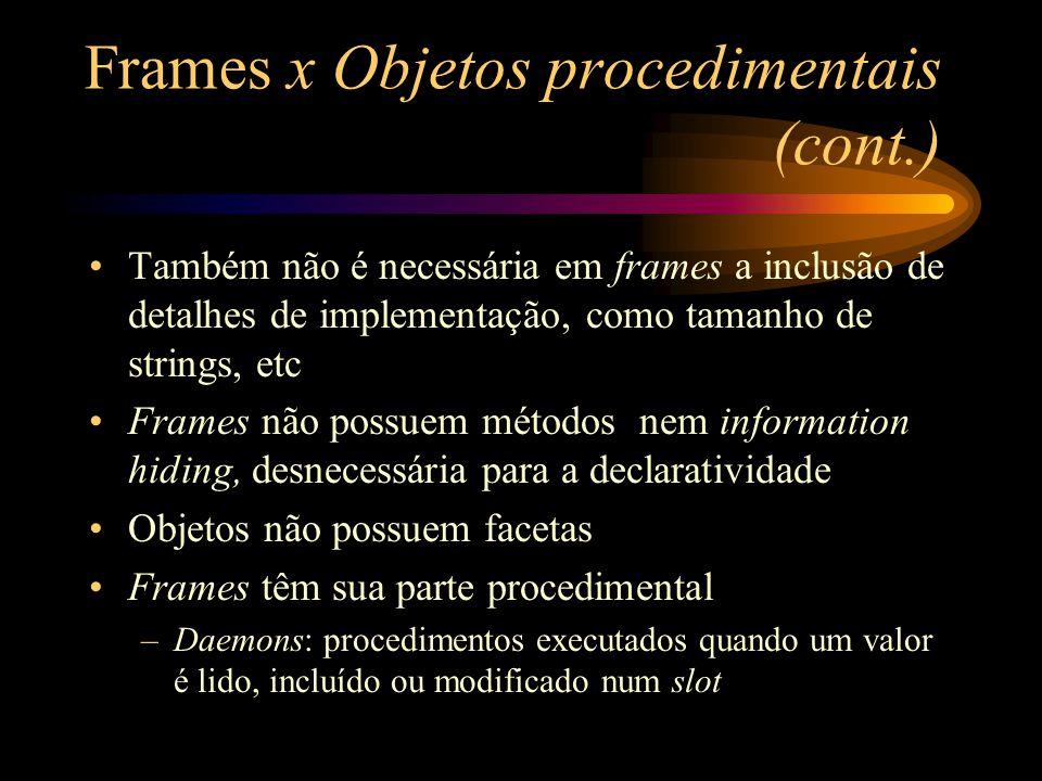 Frames x Objetos procedimentais (cont.) Também não é necessária em frames a inclusão de detalhes de implementação, como tamanho de strings, etc Frames