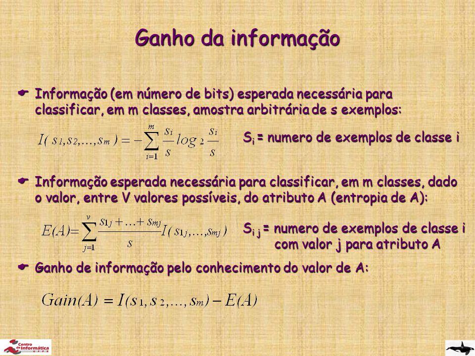  Informação (em número de bits) esperada necessária para classificar, em m classes, amostra arbitrária de s exemplos:  Informação esperada necessária para classificar, em m classes, dado o valor, entre V valores possíveis, do atributo A (entropia de A):  Ganho de informação pelo conhecimento do valor de A: Ganho da informação S i = numero de exemplos de classe i S i j = numero de exemplos de classe i com valor j para atributo A