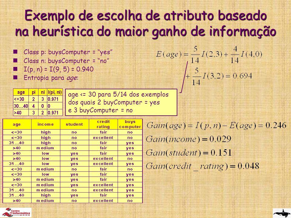  Class p: buysComputer = yes  Class n: buysComputer = no  I(p, n) = I(9, 5) = 0.940  Entropia para age: Exemplo de escolha de atributo baseado na heurística do maior ganho de informação age <= 30 para 5/14 dos exemplos dos quais 2 buyComputer = yes e 3 buyComputer = no