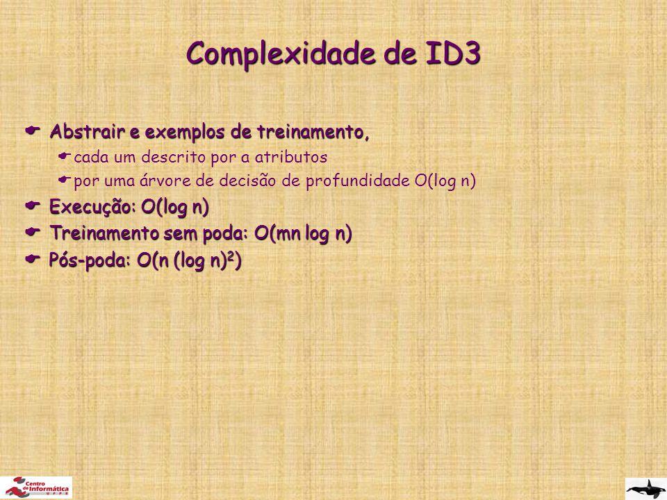 Complexidade de ID3  Abstrair e exemplos de treinamento,  cada um descrito por a atributos  por uma árvore de decisão de profundidade O(log n)  Execução: O(log n)  Treinamento sem poda: O(mn log n)  Pós-poda: O(n (log n) 2 )