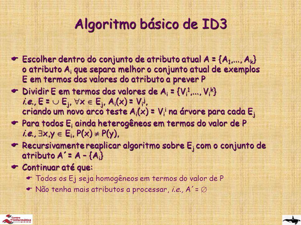 Algoritmo básico de ID3  Escolher dentro do conjunto de atributo atual A = {A 1,..., A k } o atributo A i que separa melhor o conjunto atual de exemplos E em termos dos valores do atributo a prever P  Dividir E em termos dos valores de A i = {V i 1,..., V i k } i.e., E =  E j,  x  E j, A i (x) = V i j, criando um novo arco teste A i (x) = V i i na árvore para cada E j  Para todos E i ainda heterogêneos em termos do valor de P i.e.,  x,y  E i, P(x)  P(y),  Recursivamente reaplicar algoritmo sobre E j com o conjunto de atributo A´= A – {A i }  Continuar até que:  Todos os Ej seja homogêneos em termos do valor de P  Não tenha mais atributos a processar, i.e., A´= 