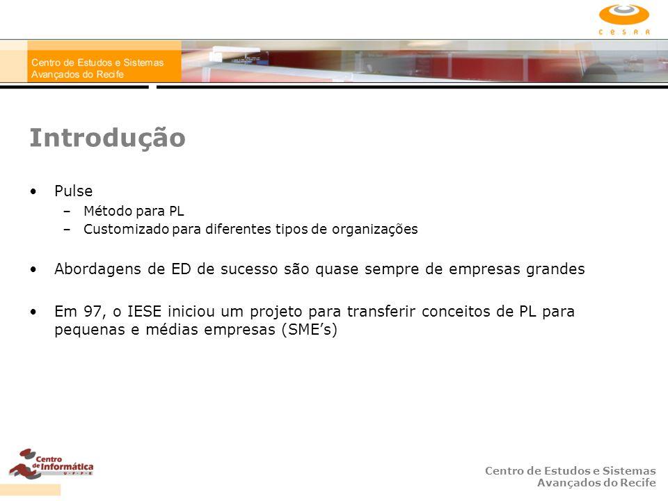 Centro de Estudos e Sistemas Avançados do Recife Introdução Pulse –Método para PL –Customizado para diferentes tipos de organizações Abordagens de ED de sucesso são quase sempre de empresas grandes Em 97, o IESE iniciou um projeto para transferir conceitos de PL para pequenas e médias empresas (SME's)