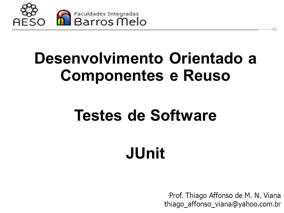 JUnit - Objetivos Desenvolver um framework que programadores de fato usarão para escrever testes de unidade – Testes de unidade são testes de classes individuais Exigir o mínimo do programador Evitar duplicação de esforços ao escrever testes Permitir escrever testes que retenham seu valor ao longo do tempo