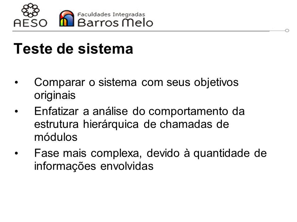 Teste de sistema Comparar o sistema com seus objetivos originais Enfatizar a análise do comportamento da estrutura hierárquica de chamadas de módulos