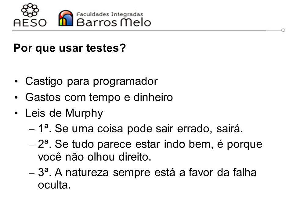 Por que usar testes? Castigo para programador Gastos com tempo e dinheiro Leis de Murphy – 1ª. Se uma coisa pode sair errado, sairá. – 2ª. Se tudo par