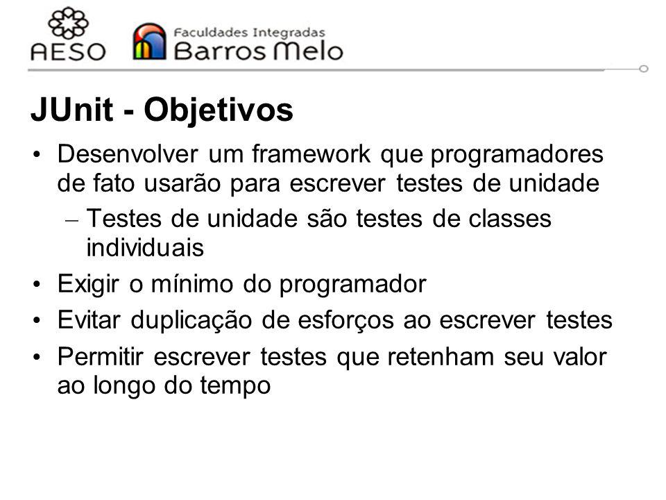 JUnit - Objetivos Desenvolver um framework que programadores de fato usarão para escrever testes de unidade – Testes de unidade são testes de classes