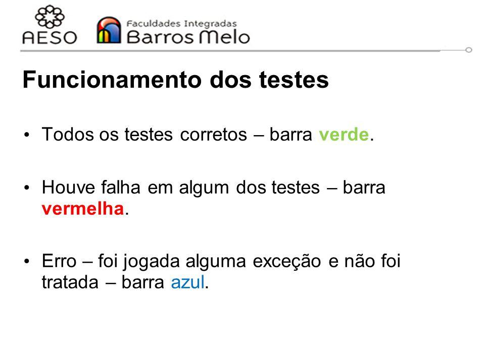 Funcionamento dos testes Todos os testes corretos – barra verde. Houve falha em algum dos testes – barra vermelha. Erro – foi jogada alguma exceção e