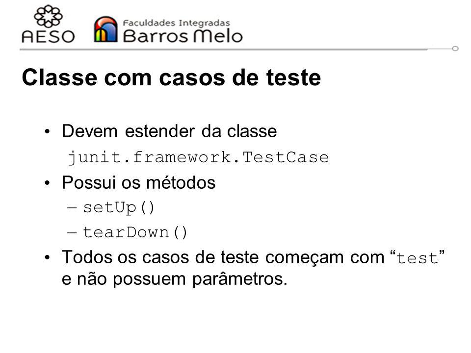 Classe com casos de teste Devem estender da classe junit.framework.TestCase Possui os métodos – setUp() – tearDown() Todos os casos de teste começam c