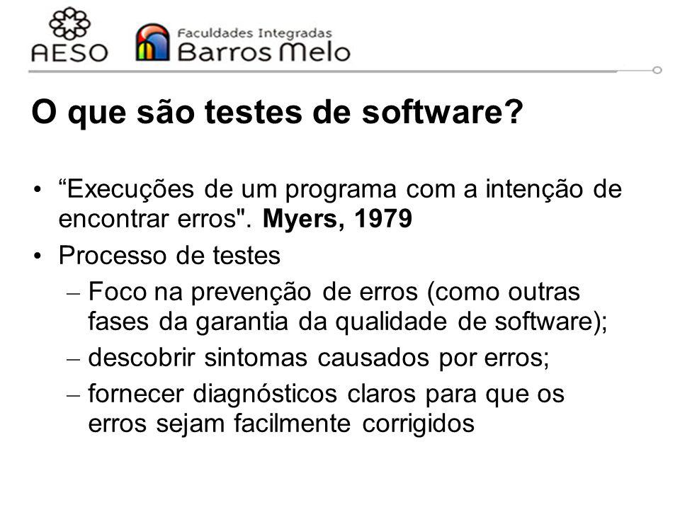 """O que são testes de software? """"Execuções de um programa com a intenção de encontrar erros"""