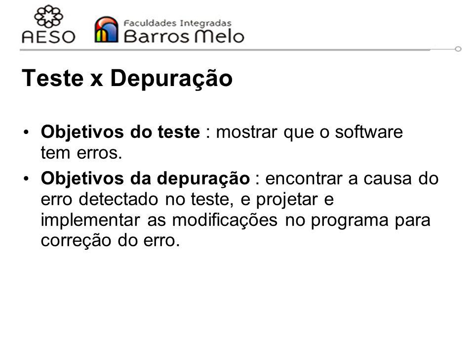 Teste x Depuração Objetivos do teste : mostrar que o software tem erros. Objetivos da depuração : encontrar a causa do erro detectado no teste, e proj