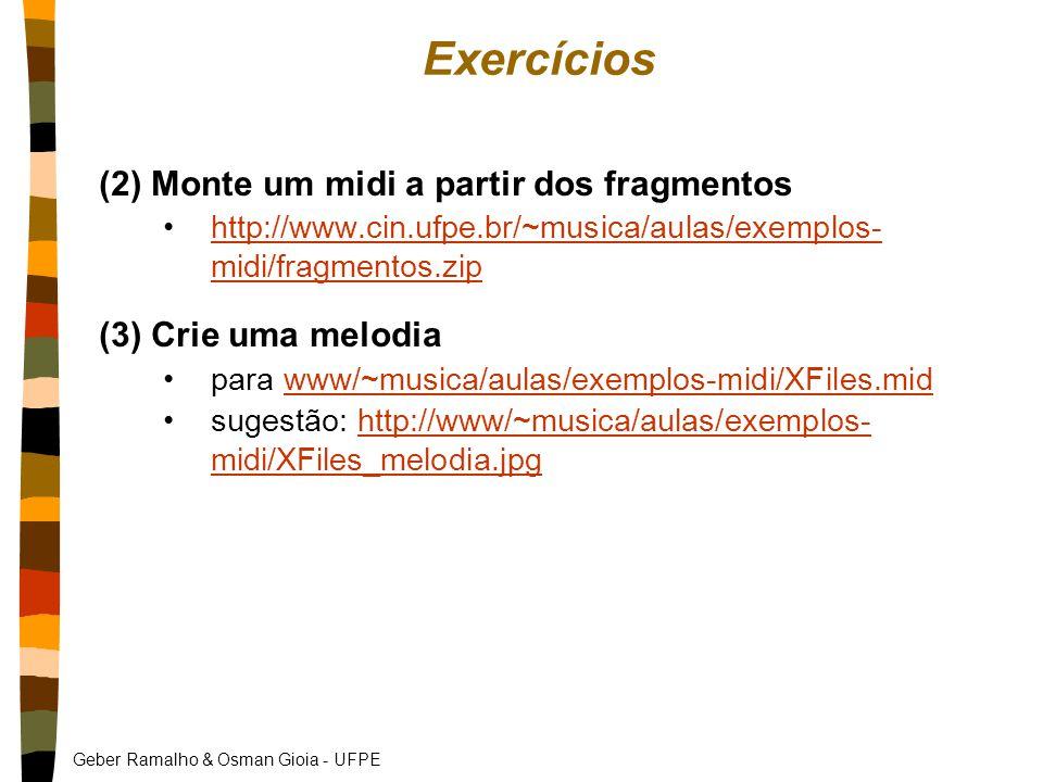 Geber Ramalho & Osman Gioia - UFPE Exercícios (2) Monte um midi a partir dos fragmentos http://www.cin.ufpe.br/~musica/aulas/exemplos- midi/fragmentos.ziphttp://www.cin.ufpe.br/~musica/aulas/exemplos- midi/fragmentos.zip (3) Crie uma melodia para www/~musica/aulas/exemplos-midi/XFiles.midwww/~musica/aulas/exemplos-midi/XFiles.mid sugestão: http://www/~musica/aulas/exemplos- midi/XFiles_melodia.jpghttp://www/~musica/aulas/exemplos- midi/XFiles_melodia.jpg