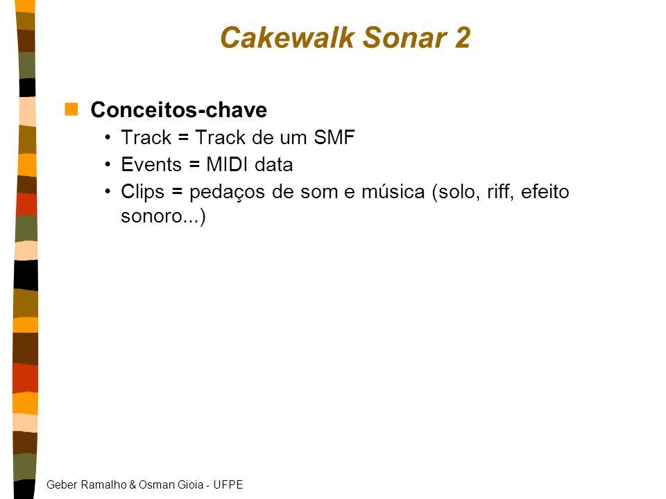 Geber Ramalho & Osman Gioia - UFPE Cakewalk Sonar 2 nConceitos-chave Track = Track de um SMF Events = MIDI data Clips = pedaços de som e música (solo, riff, efeito sonoro...)