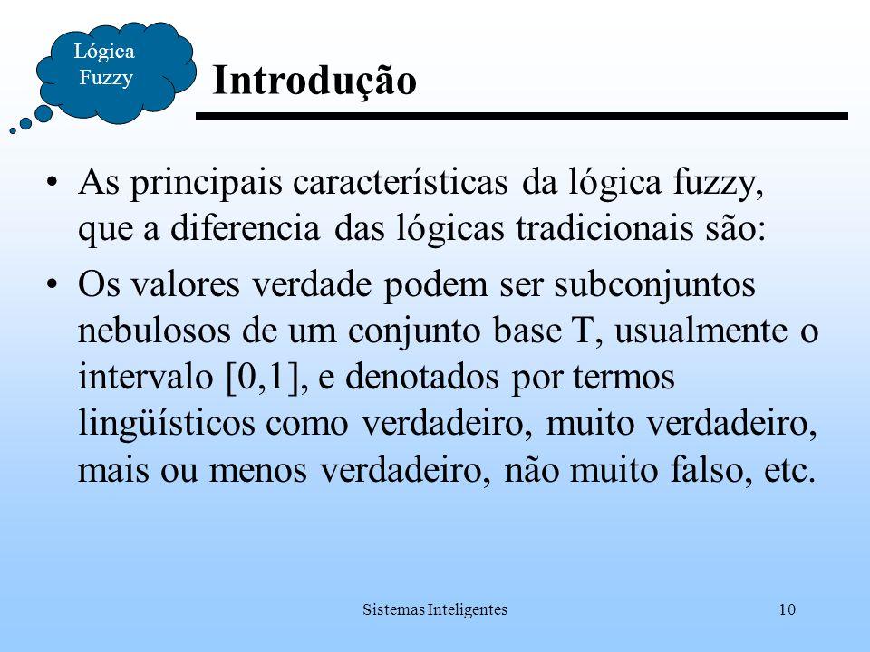 Sistemas Inteligentes10 Introdução Lógica Fuzzy As principais características da lógica fuzzy, que a diferencia das lógicas tradicionais são: Os valor