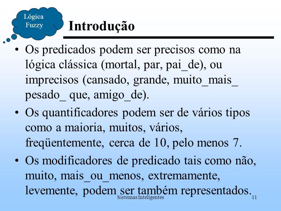 Sistemas Inteligentes11 Introdução Lógica Fuzzy Os predicados podem ser precisos como na lógica clássica (mortal, par, pai_de), ou imprecisos (cansado