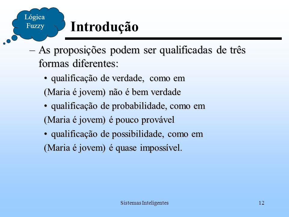 Sistemas Inteligentes12 Introdução Lógica Fuzzy –As proposições podem ser qualificadas de três formas diferentes: qualificação de verdade, como emqual