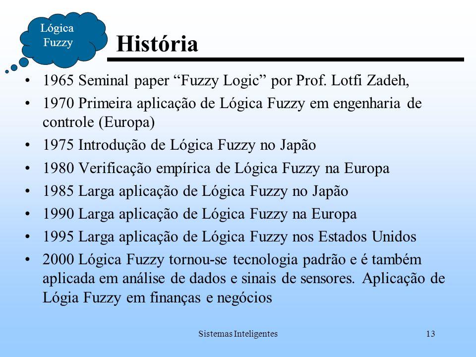 """Sistemas Inteligentes13 História Lógica Fuzzy 1965 Seminal paper """"Fuzzy Logic"""" por Prof. Lotfi Zadeh, 1970 Primeira aplicação de Lógica Fuzzy em engen"""