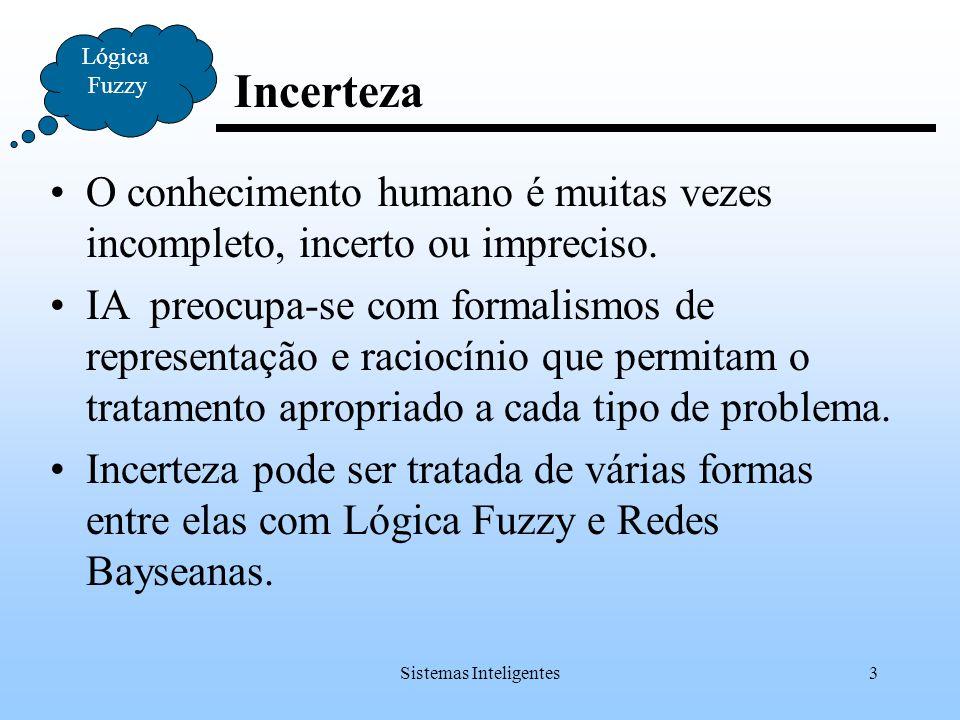 Sistemas Inteligentes4 Incerteza Lógica Fuzzy O mundo muda, algumas vezes de forma não previsível; Nossas crenças sobre o mundo mudam; Nossas crenças a cerca do mundo podem ser incertas; Não podemos garantir que nossas observações são corretas ou completas.