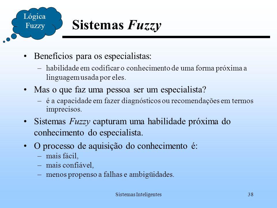 Sistemas Inteligentes38 Lógica Fuzzy Sistemas Fuzzy Benefícios para os especialistas: –habilidade em codificar o conhecimento de uma forma próxima a l