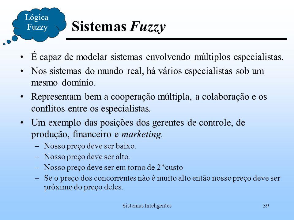 Sistemas Inteligentes39 Lógica Fuzzy Sistemas Fuzzy É capaz de modelar sistemas envolvendo múltiplos especialistas. Nos sistemas do mundo real, há vár