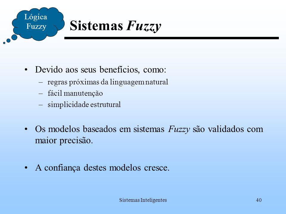 Sistemas Inteligentes40 Lógica Fuzzy Sistemas Fuzzy Devido aos seus benefícios, como: –regras próximas da linguagem natural –fácil manutenção –simplic