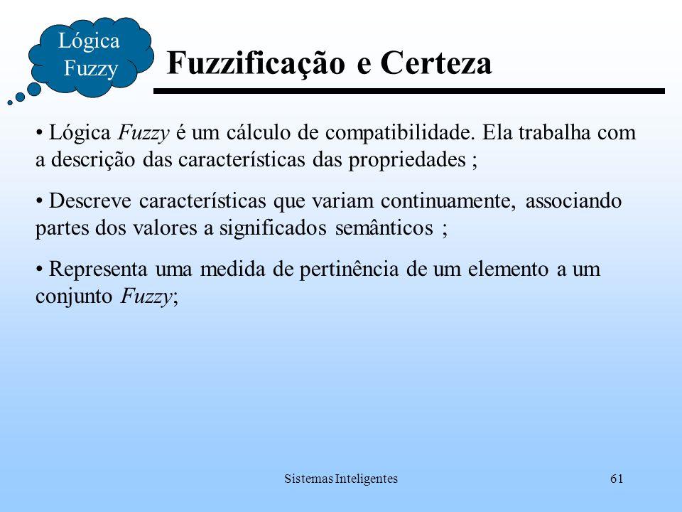 Sistemas Inteligentes61 Fuzzificação e Certeza Lógica Fuzzy Lógica Fuzzy é um cálculo de compatibilidade. Ela trabalha com a descrição das característ