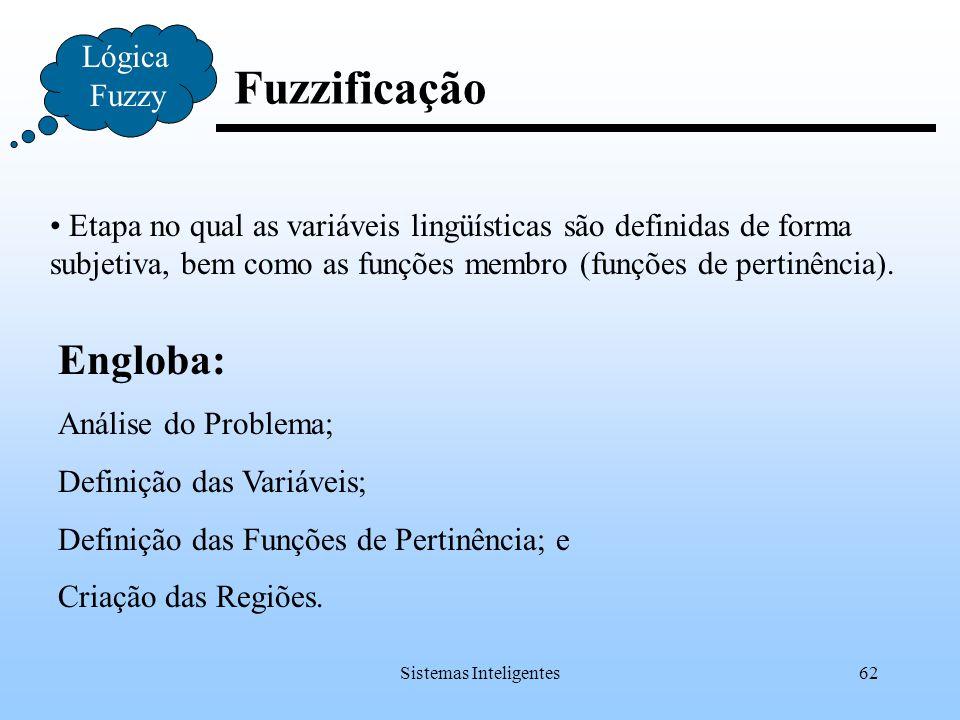 Sistemas Inteligentes62 Fuzzificação Lógica Fuzzy Etapa no qual as variáveis lingüísticas são definidas de forma subjetiva, bem como as funções membro