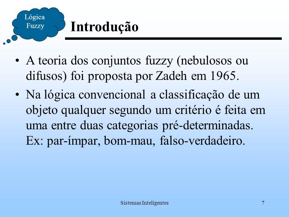 Sistemas Inteligentes7 Introdução Lógica Fuzzy A teoria dos conjuntos fuzzy (nebulosos ou difusos) foi proposta por Zadeh em 1965. Na lógica convencio