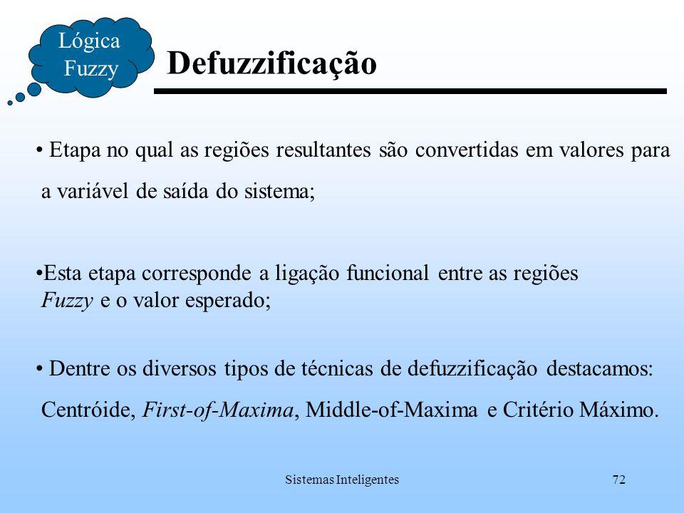 Sistemas Inteligentes72 Defuzzificação Lógica Fuzzy Etapa no qual as regiões resultantes são convertidas em valores para a variável de saída do sistem