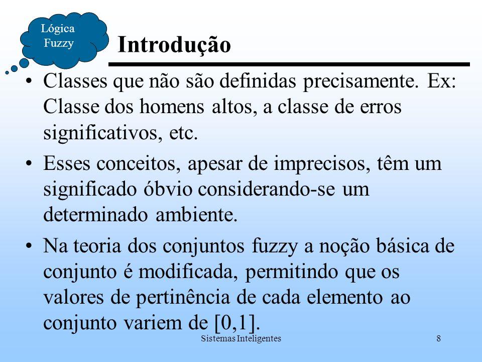 Sistemas Inteligentes8 Introdução Lógica Fuzzy Classes que não são definidas precisamente. Ex: Classe dos homens altos, a classe de erros significativ