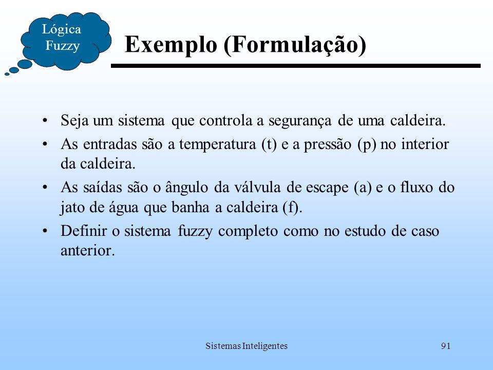 Sistemas Inteligentes91 Exemplo (Formulação) Lógica Fuzzy Seja um sistema que controla a segurança de uma caldeira. As entradas são a temperatura (t)