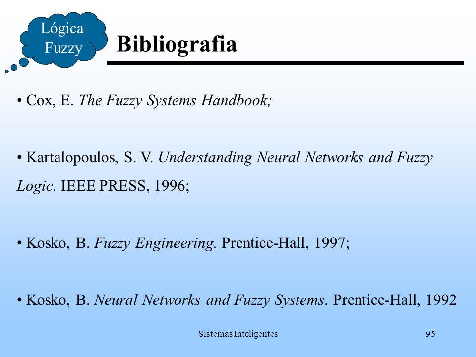 Sistemas Inteligentes95 Bibliografia Lógica Fuzzy Cox, E. The Fuzzy Systems Handbook; Kartalopoulos, S. V. Understanding Neural Networks and Fuzzy Log