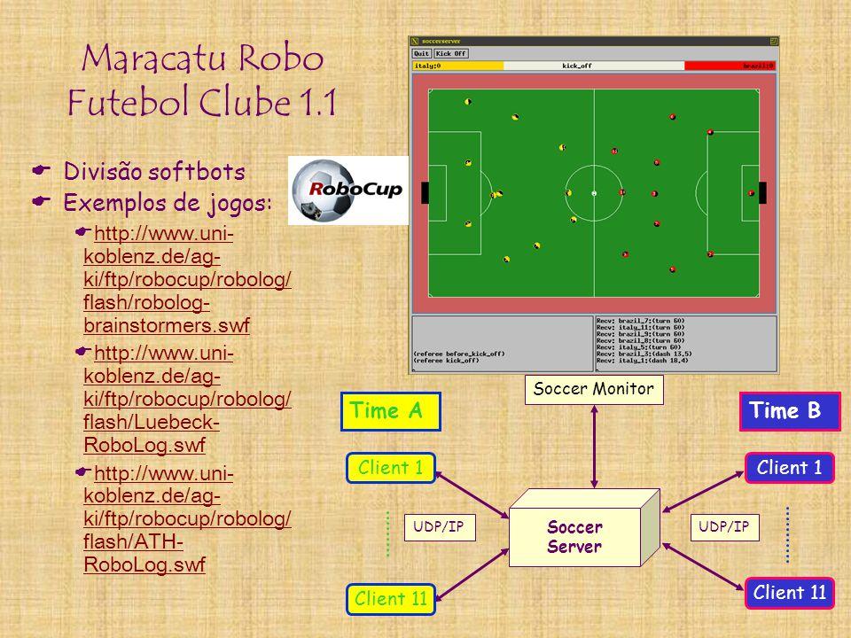 Maracatu Robo Futebol Clube 1.1  Divisão softbots  Exemplos de jogos:  http://www.uni- koblenz.de/ag- ki/ftp/robocup/robolog/ flash/robolog- brains
