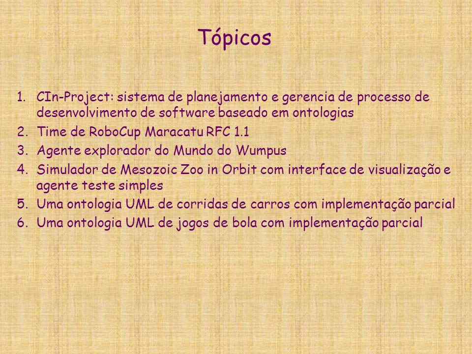 Tópicos 1.CIn-Project: sistema de planejamento e gerencia de processo de desenvolvimento de software baseado em ontologias 2.Time de RoboCup Maracatu