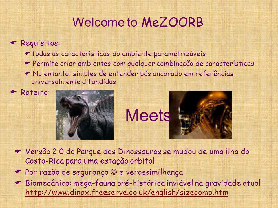 Welcome to MeZOORB  Requisitos:  Todas as características do ambiente parametrizáveis  Permite criar ambientes com qualquer combinação de caracterí