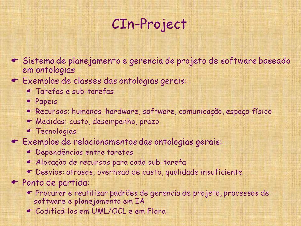 CIn-Project  Sistema de planejamento e gerencia de projeto de software baseado em ontologias  Exemplos de classes das ontologias gerais:  Tarefas e