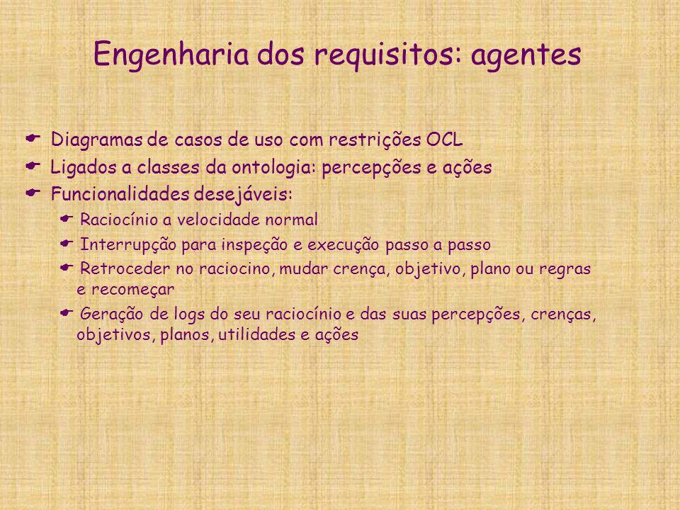 Engenharia dos requisitos: agentes  Diagramas de casos de uso com restrições OCL  Ligados a classes da ontologia: percepções e ações  Funcionalidad