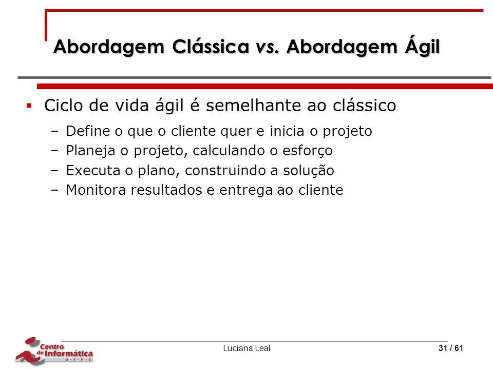 Luciana Leal31 / 61 Abordagem Clássica vs. Abordagem Ágil  Ciclo de vida ágil é semelhante ao clássico –Define o que o cliente quer e inicia o projet