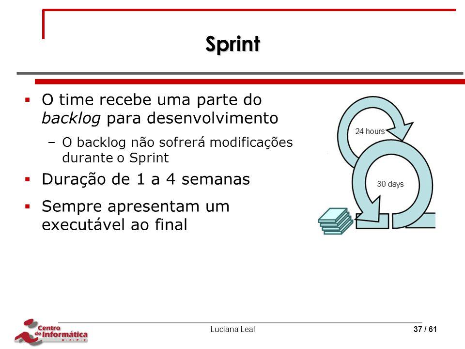 Luciana Leal37 / 61 Sprint  O time recebe uma parte do backlog para desenvolvimento –O backlog não sofrerá modificações durante o Sprint  Duração de